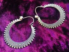 SILVER PLATED GYPSY HOOP EARRINGS -BOHO, INDIAN, FESTIVAL, LADIES GIFT