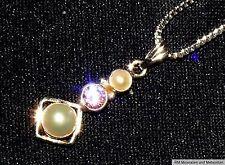 COLGANTE CON 1 KUNZITA Y 2 Perlas + cadena plata piedra curativa 1,8g 23x10x5mm