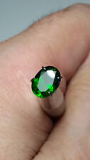 NATURAL CHROME DIOPSIDE CT 1.37 FORREST GREEN COLOR SI OVAL CUT ORIGIN URALI RUS