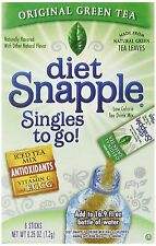 Diet Snapple Singles To Go Green Tea, 6-Count, Pack of 12, New, Free Shipping