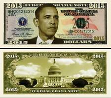 President Obama 2015 Dollar Bill Collectible Play Fake Funny Money Novelty Note