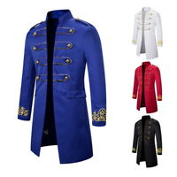 New Men's Coat Costume Embroidered Cuffs Coat Standing Collar Long Trench Coat