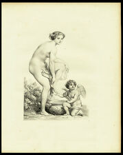 Antique Print-FEMALE-NUDE-STANDING-WASHING FEET-PUTTI-WASH BASIN-1850