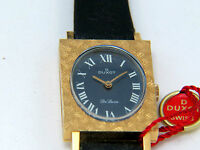 Solid Gold 18K 750 Watch Vintage Duxot NOS Blue Roman Face Swiss Made Rare