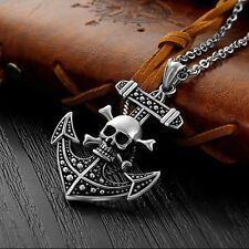 Retro Punk Skull Anchor Stainless Steel Antique Silver Pendant Necklace for Men