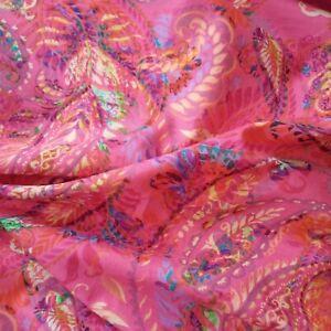 Pink Paisley Pima Fine Cotton Lawn For Dressmaking 140cm Wide-Per 50cm