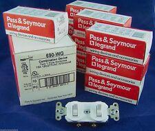 Lot of 10 690-W w/Ground Dual 2 Two Duplex 1 Pole Switch 15a 120/277vac White