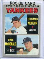 1970 Topps Baseball Card Thurman Munson & Dave McDonald ROOKIE Yankees NR MT#189