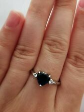 Blue And Silver Crystal Look Heart Ring SIZE S Womens Ring silver plated gift
