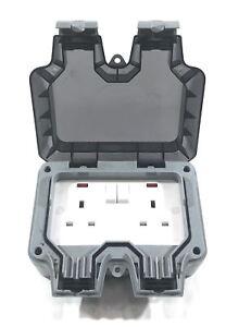 illucio 2 Gang 13 Amp Weatherproof Outdoor Switched Plug Socket
