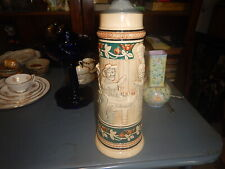 New listing 14 inches tall old Germany pottery 2 liter stein with man and woman on front