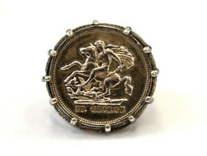 .925 STERLING SILVER St George Sovereign Coin Ring, Size: R 1/2, 11.38g - M17