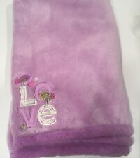 "Cuddle Time Plush Blanket LOVE Applique Purple Birds Baby Girl 31""x38"" Hearts"