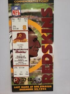 96' Washington Redskins Last GM RFK Stadium Commemorative Ticket & 2 Wall Signs