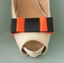 2 Black & Orange Triple Bow Clips for Shoes - other colours on request