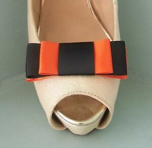 2 Handmade Black & Orange Triple Bow Shoe Clips - other colours on request