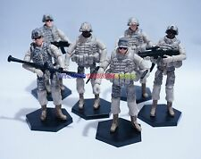 """New 1/18 Set of 6 Modern USA 101 Airborne Infantry Soldier 3.75"""" Figure w Weapon"""