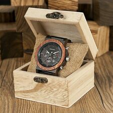 Holzuhr Herren Holz Armbanduhr Chronograph Herrenuhr Geschenk Weihnachten + Box