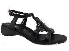 Rieker Women's Elea T-Strap Sandals Black Leather Size EU 38/US 7 M