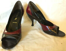 PRADA womens shoes BLACK AND RED open toe SIZE 40   us 10
