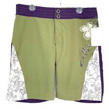 Oakley Mens Board Shorts Medium 12 Green Hawaiian Floral Swim Trunks Snap Button