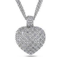 "Amour Sterling Silver 1 Carat Diamond Heart Love Strand Necklace Pendant 925 17"""