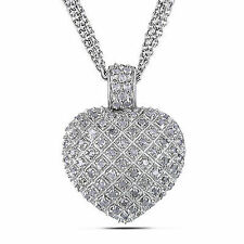 Amour Sterling Silver 1 Carat Diamond Heart Love Strand Necklace Pendant 925 17""