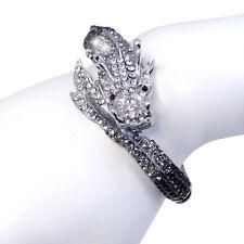 Black Dragon Loong Animal Bangle Cuff Bracelet Austrian Crystal Gift Vintage