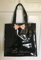 """TED BAKER London Black Patent SOFCON Icon Bag pink Bow Tote Shopper 14"""" x 14"""""""