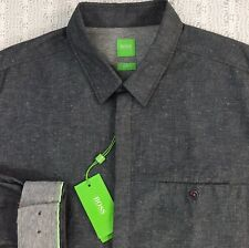 HUGO BOSS Men's L/S Casual Shirt XL X-Large Slim Fit Gray Color Spot NWT $155