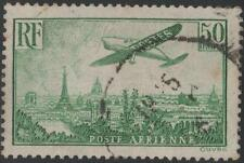 "FRANCE AVIATION N° 14 "" AVION SURVOLANT PARIS 50F VERT-JAUNE "" OBLITERE TB J722"
