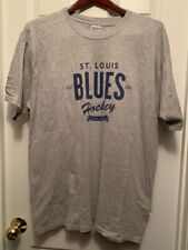 St Louis Blues Hockey Bleed Blue T Shirt Mens Size XL Gray Blue Design Verizon