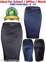 NEW WOMEN LADIES PENCIL SATIN SKIRT STRETCH BLACK BLUE WITH POCKETS SIZES 8-18