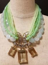 BCBG MAXAZRIA MIXED QUARTZ & GEM STONE STATEMENT NECKLACE
