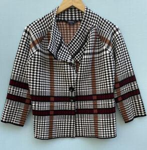 Carlisle Jacket Large Ponte Knit Blazer Black White Houndstooth Plaid