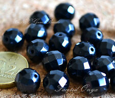 5 Beads of Natural Black Onyx Faceted Beads 10mm Gemstone Crystal DIY