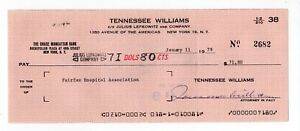 Tennessee Williams American Playwright Autographed 1978 Check - w/ PSA COA