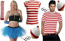 New Men's Women's outfit Red & White Fancy Dress Kit Set Book Week Day costume