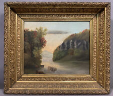 19thC Antique Primitive Old Hrv Style River Valley Cows Oil Landscape Painting