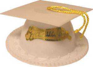 2 WILTON GRADUATION CAP CAKE TOPPERS 2113-1800 WHITE