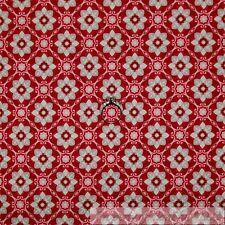 BonEful Fabric Cotton Quilt VTG Maroon Red Cream Flower Winter Snow*flake SCRAP