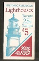 US SC # BK171 American Lighthouses,  Plate # 2. Complete Booklet.  MNH