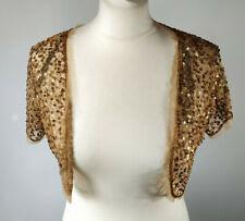 Sequin Shrug Crop Jacket Bolero Copper Dorothy Perkins Bronze Metallic Size 16