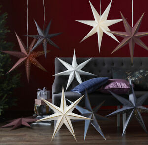 Papierstern Ø 60 cm Weihnachtsstern 12er LED Stern Lichterkette für Faltstern