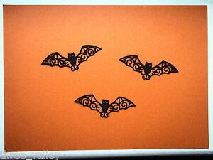 12 X DIE CUT CARD BLACK FILIGREE BATS HALLOWEEN