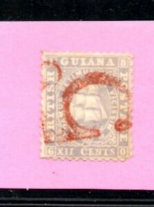 BRITISH GUIANA 1862-65  12c. Surcharged Large Red '5d.' Scott 27a