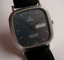 Vintage OMEGA SEAMASTER Men Watch Quartz Cal.1435 Day Date Square Black Dial