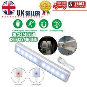 10 LED Motion Sensor Closet Light Wireless Night Cabinet USB Rechargeable Indoor