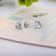Sterling Silver Triangle Men's Women's Cz Stud Earring Studs Triangle Earrings