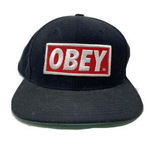 OBEY Logo Casquette Baseball Réglable Brodé Noir Rouge Blanc Brodé Plat